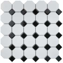 Мозаика Octagon small White/Black Matt (IDLA2575) 29.5x29.5 от StarMosaic (Китай)
